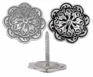 04212 Jeremiah Watt Accented Floral Concho with Wood Screw